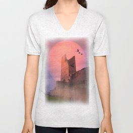 Castle in the evening Unisex V-Neck