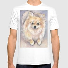 Pomeranian Watercolor Pom Puppy Dog Painting Mens Fitted Tee MEDIUM White