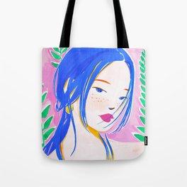 Girl and Aroid Palm Tote Bag