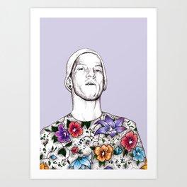 Joshua Dun in flowers Art Print