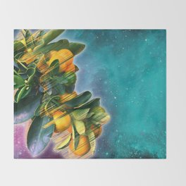 Small fruit tree in outer space Throw Blanket