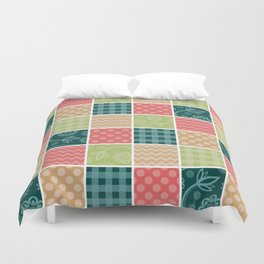 Zigzag, Polka Dots, Gingham - Green Red Blue Duvet Cover