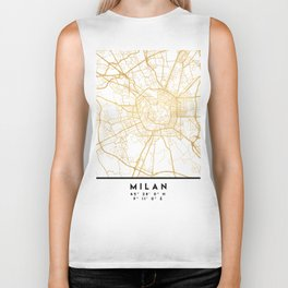 MILAN ITALY CITY STREET MAP ART Biker Tank