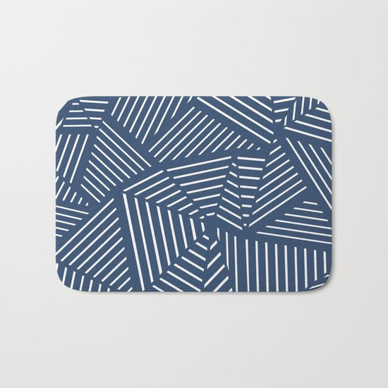 Abstraction Linear Zoom Navy Bath Mat