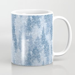 Blue Winter Conifer Forest Watercolor Pattern Coffee Mug