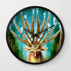 Princess Mononoke The Deer God Shishigami Tra Digital Painting. Wall Clock