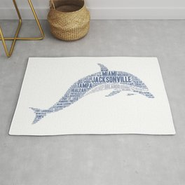 Dolphin illustrated with cities of Florida State USA Rug