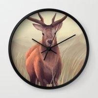 elk Wall Clocks featuring ELK by Juliana Vidal