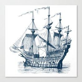 Blue vintage nautical wind sailing boat Canvas Print