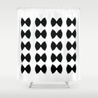 pasta Shower Curtains featuring Pasta Series: Farfalle Pattern by Michelle Ghiotti