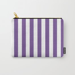 Narrow Vertical Stripes - White and Dark Lavender Violet Carry-All Pouch