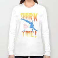shark Long Sleeve T-shirts featuring Shark by Silver Larrosa