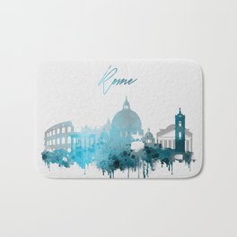 Rome Italy Monochrome Blue Skyline Bath Mat