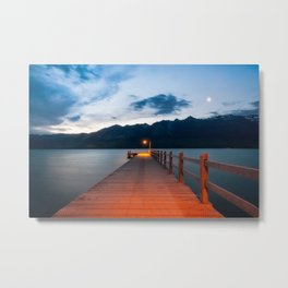 Moon rising at Glenorchy wharf, NZ Metal Print
