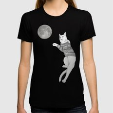 Cat trying to catch the Moon Womens Fitted Tee LARGE Black
