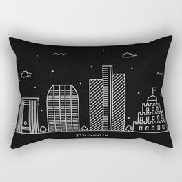 Phoenix Minimal Nightscape / Skyline Drawing Rectangular Pillow