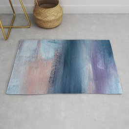 In a Blur: an abstract mixed media piece in pinks, blues, and purple Rug