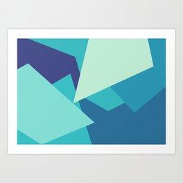Retro Blue Mid-century Minimalist Geometric Line Abstract Art Art Print