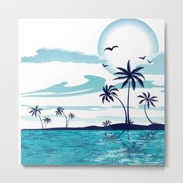 Ocean Island Trees Birds Metal Print