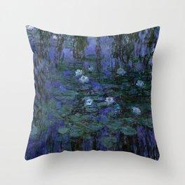 Blue Water Lilies Monet 1916- 1919 Throw Pillow