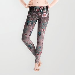 Rose Gold Dragonfly Garden | Pastel Leggings