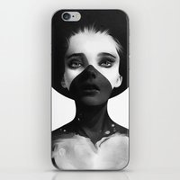 black iPhone & iPod Skins featuring Hold On by Ruben Ireland