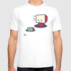 robots in holes Mens Fitted Tee White MEDIUM