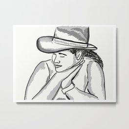 Cowgirl Portrait of a Woman in Love Metal Print