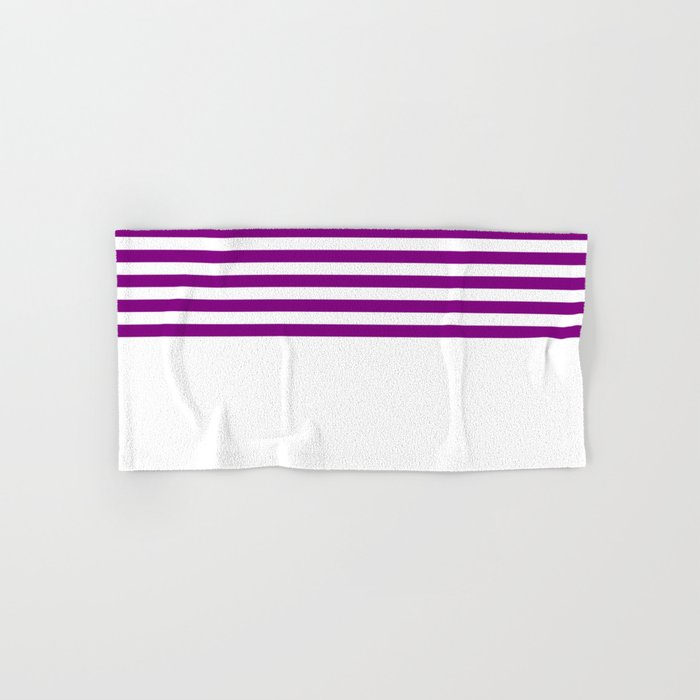 Horizontal Stripes (Purple/White) Hand & Bath Towel