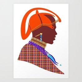 Kenya massai warrior digital art graphic design atalanta creative Art Print