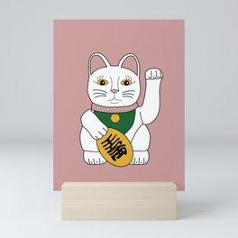Maneki Neko - lucky cat - pink Mini Art Print