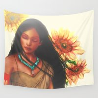 pocahontas Wall Tapestries featuring Pocahontas by Stephanie Sanchez