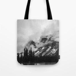 Smokey Mountains Maligne Lake Landscape Photography Black and White by Magda Opoka Tote Bag
