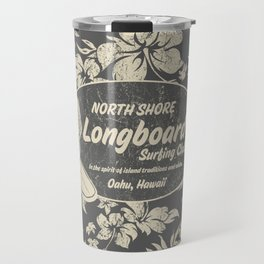 Club Surfing Longboard Logo and Hibiscus Hawaiian Print  Travel Mug