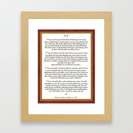 Inspirational Typography Wall Art, IF quote, written in 1895 by Rudyard Kipling Framed Art Print