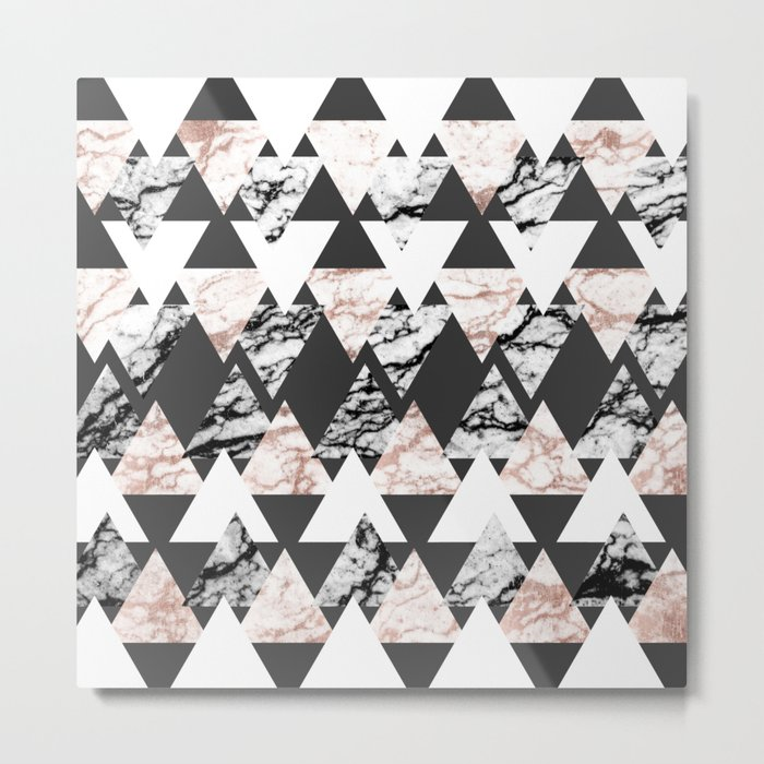Modern Black White Rose Gold Marble Geo Triangles Metal Print