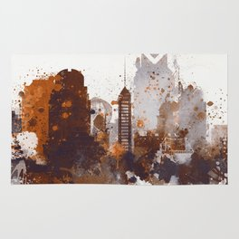 Brown Sacramento watercolor skyline Rug