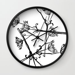 Nature illustration in black ink 1 Wall Clock