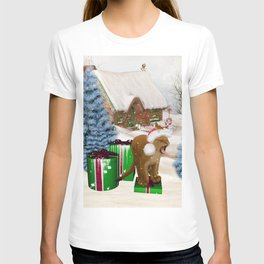 Christmas, Cute little lion with gifts T-shirt