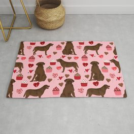 Chocolate Lab valentines day dog breed custom gifts for dog lover with labrador retrievers Rug