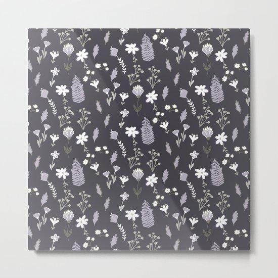 Dark Pastel Violet Flower Pattern Metal Print