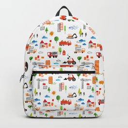 Watercolor Busy City Roads Pattern Backpack