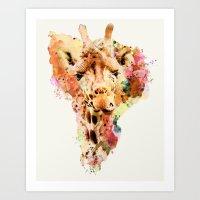 giraffe Art Prints featuring giraffe by RIZA PEKER