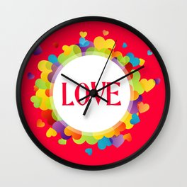 Red Love Hearts Wall Clock
