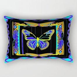Artistic Butterflies in Decorative Purple-Aqua Lattice frame Black, & Gold Abstract Rectangular Pillow
