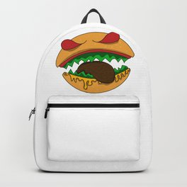 Monster halloween burger teeth face biting food gift idea Backpack