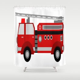 firetruck kids child fire red Shower Curtain
