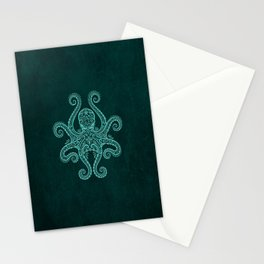 Intricate Teal Blue Octopus Stationery Cards