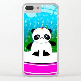 Pandacorn in a Snowglobe Clear iPhone Case