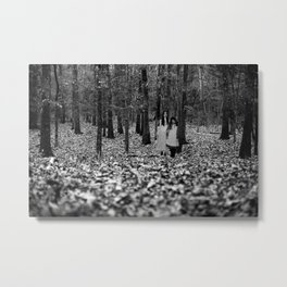 Forest Frendz Black & White S1 Metal Print